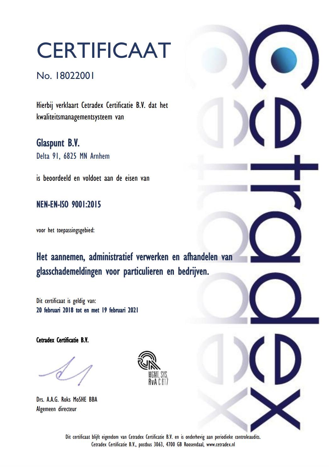 ISO 9001 Glaspunt